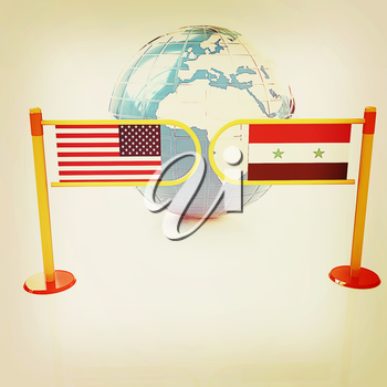 Three-dimensional image of the turnstile and flags of USA and Syria on a white background . 3D illustration. Vintage style.