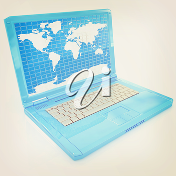 Laptop with world map on screen on a white background. 3D illustration. Vintage style.