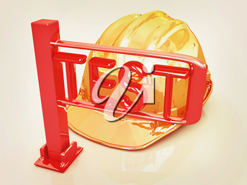 Yellow hard hat and turnstile. Technology control concept on a white background. 3D illustration. Vintage style.