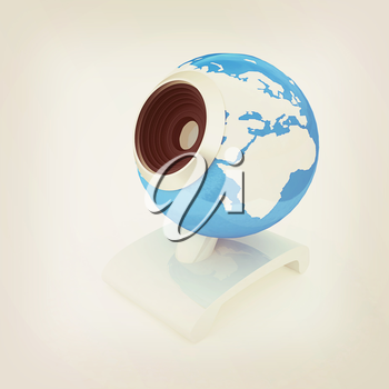Web-cam for earth.Global on line concept on a white background. 3D illustration. Vintage style.