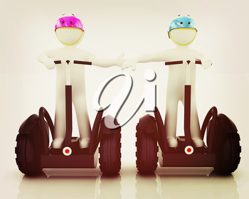 3d people in riding on a personal and ecological transport in helmet and holding hands. Concept of partnership. 3D illustration. Vintage style.