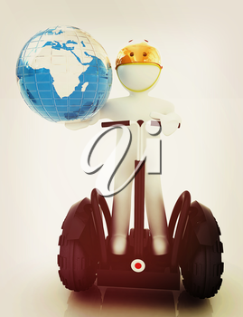 3d white person riding on a personal and ecological transport and earth.Global ecology and healthy life concept.3d image. . 3D illustration. Vintage style.