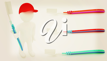 Toothbrush set on a white background. 3D illustration. Vintage style.