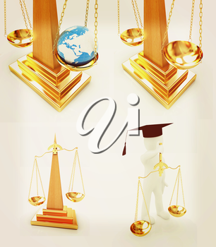 Justice set on a white background. 3D illustration. Vintage style.