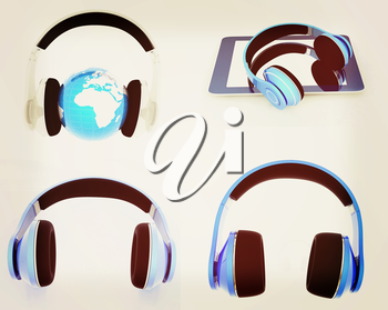 Phone and headphones set on a white background. 3D illustration. Vintage style.
