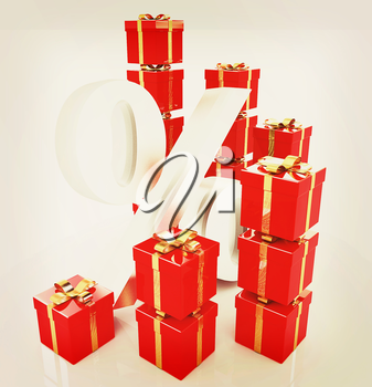 Percentage and gifts on a white background . 3D illustration. Vintage style.