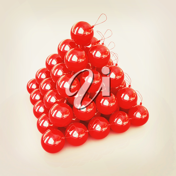 Traditional Christmas toys on a reflective background . 3D illustration. Vintage style.