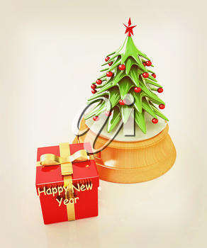 Christmas tree and gift on a white background. 3D illustration. Vintage style.