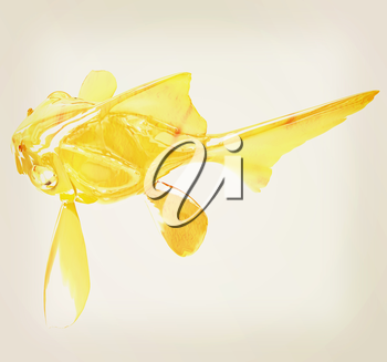 Gold fish. Isolation on a white background. 3D illustration. Vintage style.