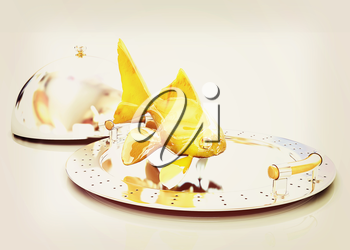 Gold fish on a restaurant cloche on a white background. 3D illustration. Vintage style.