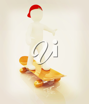 3d white person with a skate and a cap. 3d image on a white background. 3D illustration. Vintage style.