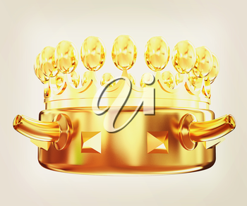 Gold crown isolated on white background . 3D illustration. Vintage style.