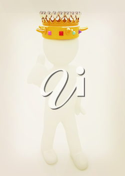 3d people - man, person with a golden crown. King . 3D illustration. Vintage style.