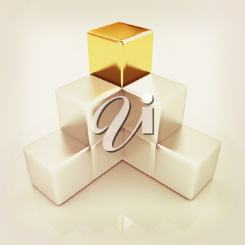 colorful block diagram with one individual gold cube top. 3D illustration. Vintage style.