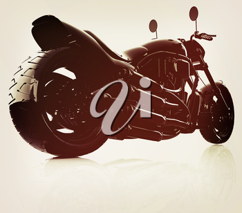 abstract racing motorcycle concept. 3D illustration. Vintage style.