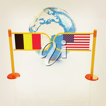Three-dimensional image of the turnstile and flags of USA and Belgium on a white background . 3D illustration. Vintage style.