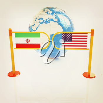 Three-dimensional image of the turnstile and flags of USA and Iran on a white background . 3D illustration. Vintage style.