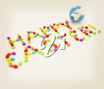 Easter eggs as a Happy Easter greeting and Earth on white background. 3D illustration. Vintage style.