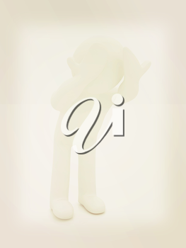 3d personage with hands on face on white background. Series: human emotions. 3D illustration. Vintage style.