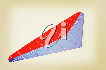 Hang glider isolated on a white background. 3D illustration. Vintage style.
