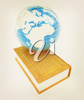 leather real book and Earth. 3D illustration. Vintage style.