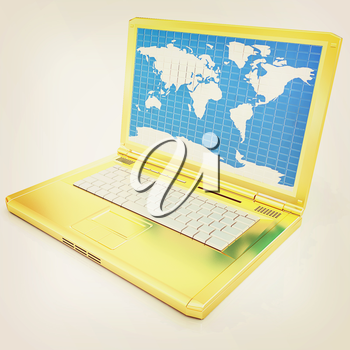 Gold laptop with world map on screen on a white background. 3D illustration. Vintage style.
