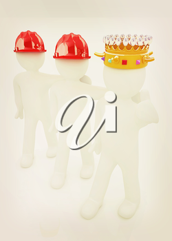 3d people - man, person with a golden crown. King with person with a hard hat. 3D illustration. Vintage style.