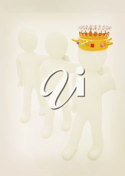 3d people - man, person with a golden crown and 3d man. 3D illustration. Vintage style.
