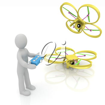 3d man with drone, quadrocopter, with photo camera. 3d render. 3D render