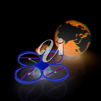Quadrocopter Drone with Earth Globe and remote controller on a white background. 3d illustration. Anaglyph. View with red/cyan glasses to see in 3D.