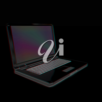 Laptop computer. 3d render. Anaglyph. View with red/cyan glasses to see in 3D.