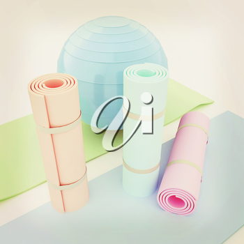 karemat and fitness ball. 3D illustration