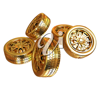 Golden wheels Set isolated on white. Top view. 3d illustration