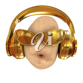 potato with sun glass and headphones front face on a white background. 3d illustration