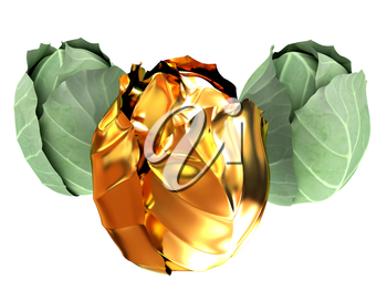 green cabbage and gold cabbage isolated on white background. 3d illustration