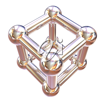 Structural chemical formula and model of molecule, 3d object illustration isolated on the white backgrpound.