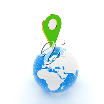 Planet Earth and map pins icon. 3d illustration.