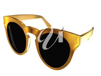 Cool gold sunglasses. 3d illustration