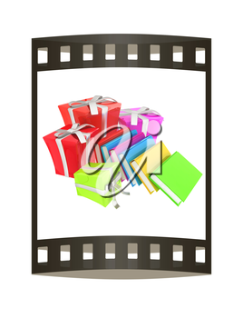Gifts and books. 3d illustration. The film strip.