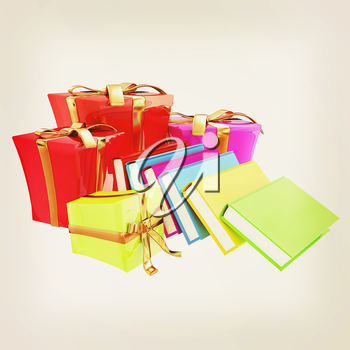 Gifts and books. 3d illustration. Vintage style