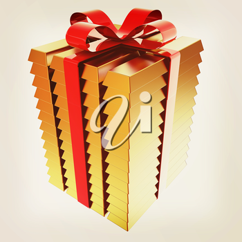 Stacked Gold Bars with Red Ribbon. 3d illustration. Vintage style