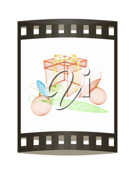 colorful gift box concept. 3d illustration. The film strip.