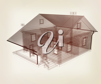 line drawing of house. Top view. 3d illustration. Vintage style