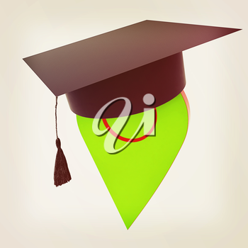 Geo pin with graduation hat on white. School sign, geolocation and navigation. 3d illustration. Vintage style