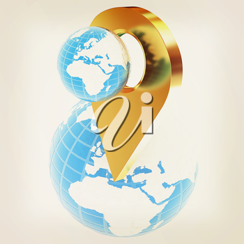 Planet Earth and golden map pins icon on Earth. 3d illustration.. Vintage style