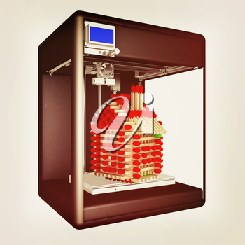 Industrial 3D printer prints a toy house made of matches. 3d illustration. Vintage style