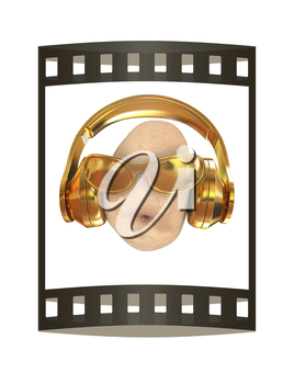potato with sun glass and headphones front face on a white background. 3d illustration. The film strip.