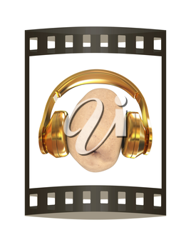 potato with headphones on a white background. 3d illustration. The film strip.