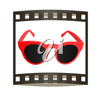 Cool red sunglasses. 3d illustration. The film strip.