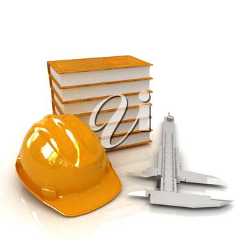 Calipers and leather-bound books around hard hat. 3d render